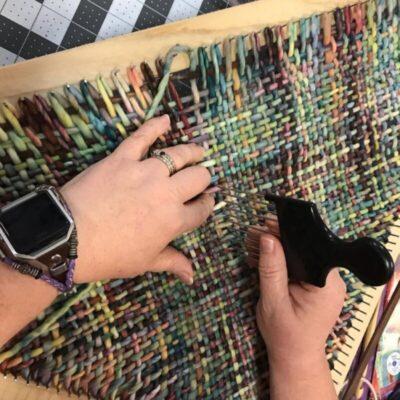 multicolor scarf on triangle loom