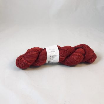 Amanda Lace yarn in color Mars, a deep dark red