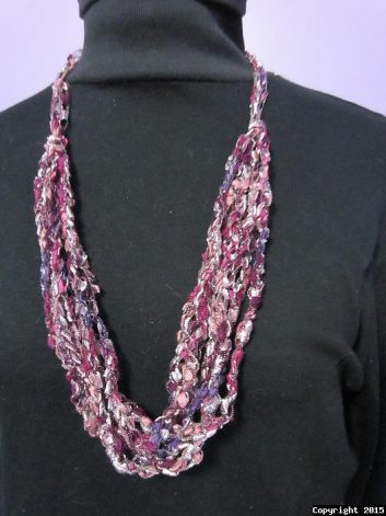 crochet necklace made from ladder yarn