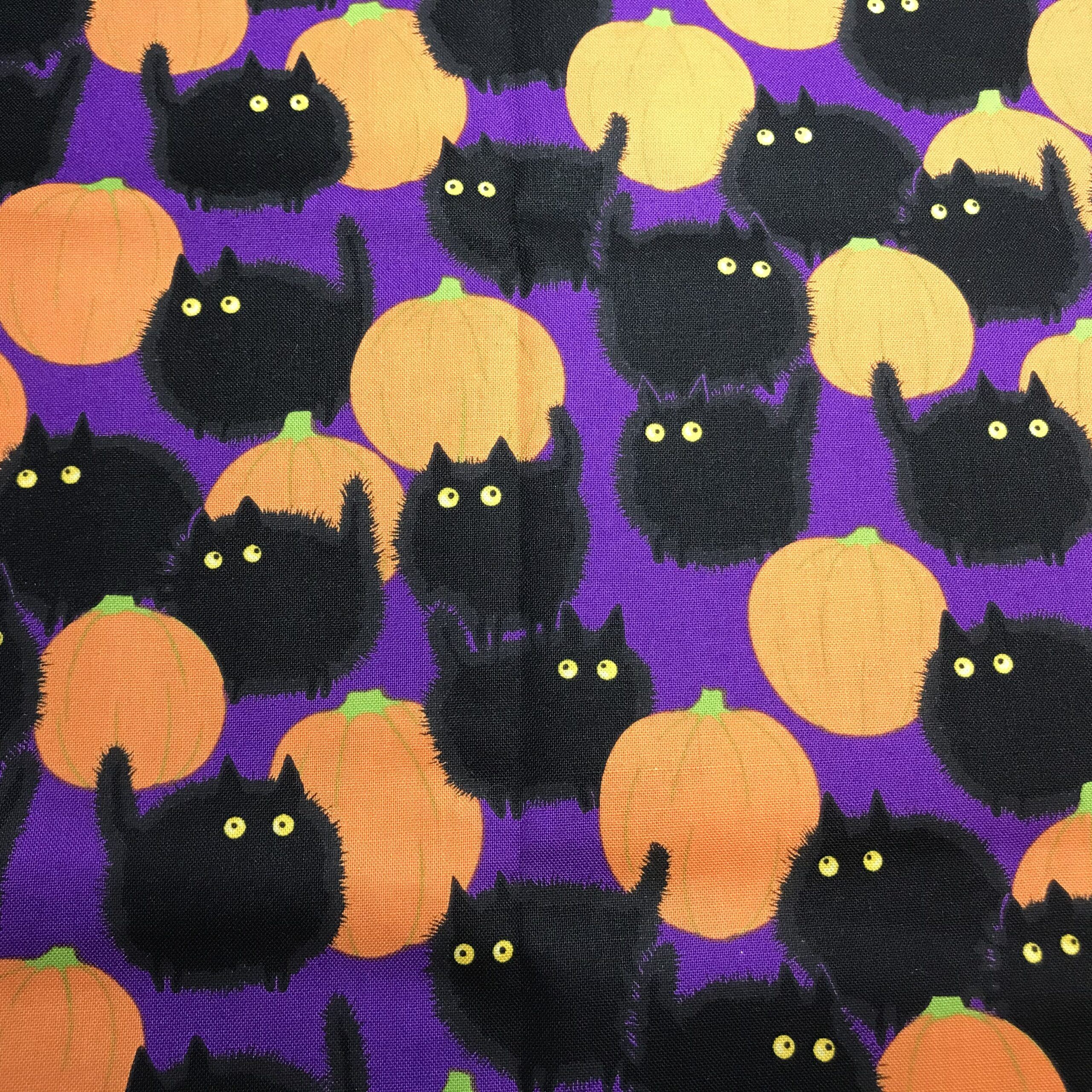 Puffy Black Cats and Pumpkins on Purple