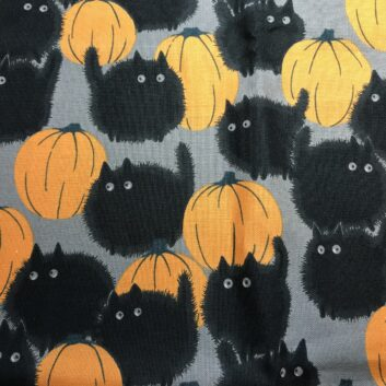 Puffy Black Cats and Pumpkins on Gray