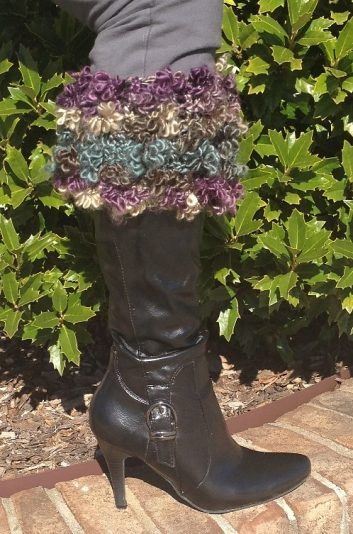 Floofy Boot Toppers with a black dress boot