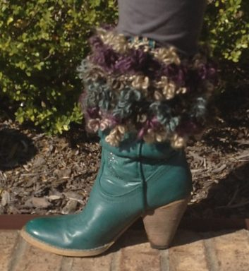 Floofy Boot Toppers with a cowboy boot