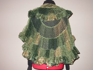 Back view of Nautilus Shawl crocheeted in autumn colors
