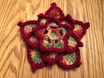 Star Lotus Flower in multicolor and burgundy, top view
