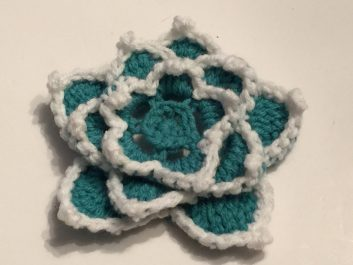 Star Lotus Flower in aqua and white, top view