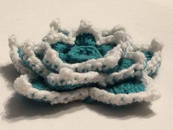 Star Lotus Flower in aqua and white, side view