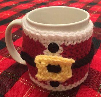 Santa Coffee Cup Cozy: Santa's jacket and belt