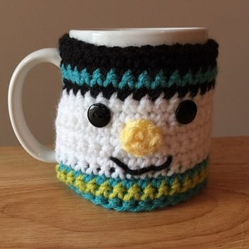 Crocheted Snowman Coffee Cup Cozy