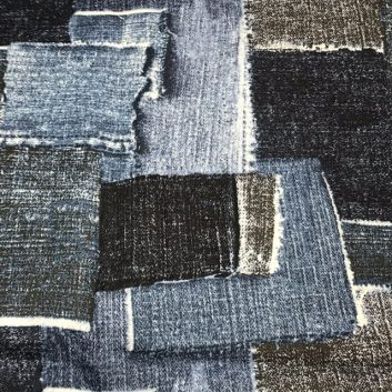 Fabric print with blocks of denim