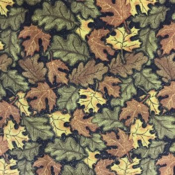 Fabric with sparkly oak and maple leaves