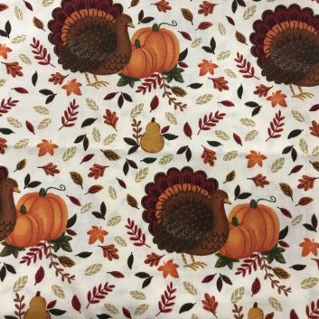 Fabric with turkeys and pumpkins