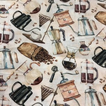 fabric with many types of coffeepots on beige background