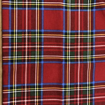 fabric with red, blue, green, yellow plaid