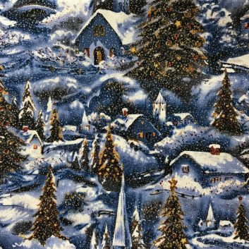 fabric with sparkly snowy winter scene