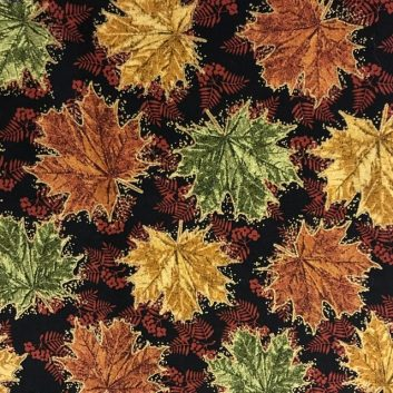 Fabric with maple leaves