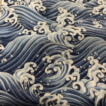 fabric with blue and white waves