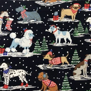fabric with dogs in falling snow