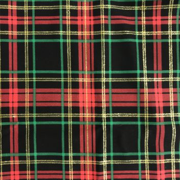 fabric with red, green, yellow, and black plaid